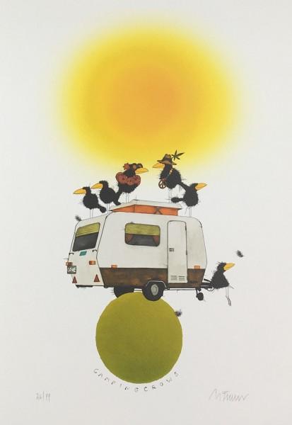 """Michael Ferner Kunstdruck """"Camping Crows"""" limitiert und handsigniert"""