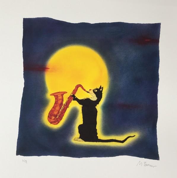 """Michael Ferner Kunstdruck """"Katze mit Saxophon"""" limitiert und handsigniert"""